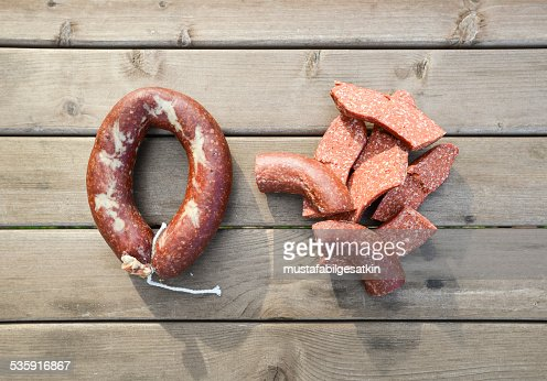 homemade sausage : Stock Photo