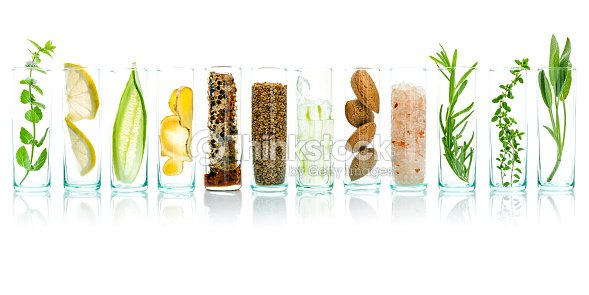 Homemade skin care with natural ingredients aloe vera, lemon, cucumber, himalayan salt, peppermint, rosemary, almonds, cucumber, ginger and honey pollen isolated on white background. : Stock Photo