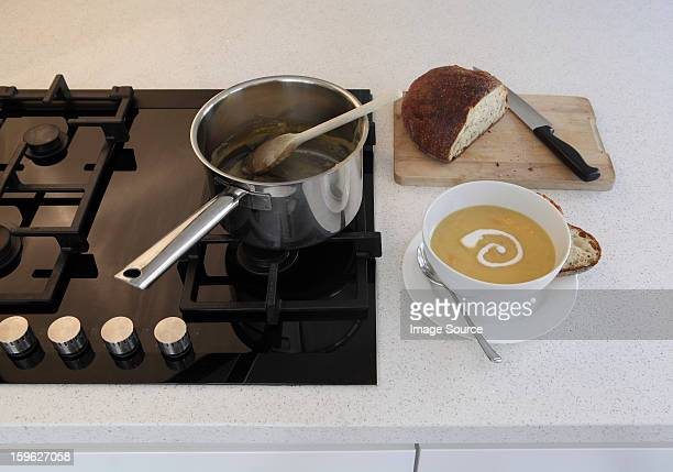 Homemade soup on kitchen counter