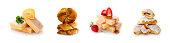 Strawberry cake and caramel sauce isolated on white background .Freshly baked pastry.