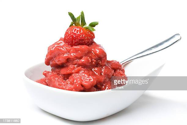 Home-made strawberry sorbet