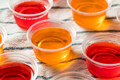 Homemade Sweet Alcoholic Gelatin Shots in Plastic Cups