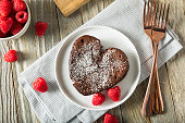 Homemade Sweet Chocolate Heart Lava Cake for Valentine's Day