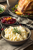 Homemade Thanksgiving Mashed Potatoes with butter and Rosemary