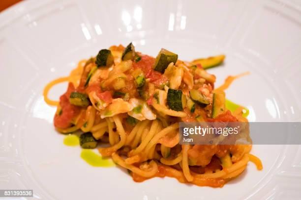 Homemade tomato Capellini pasta