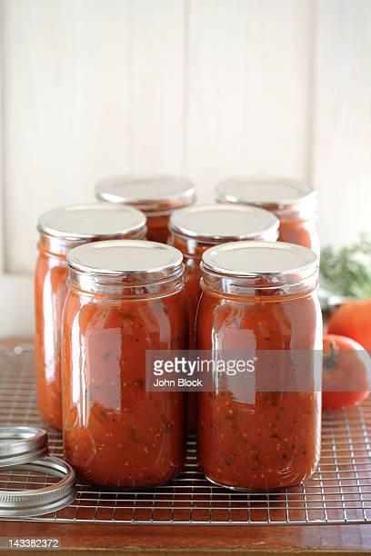 Homemade tomato sauce in jars