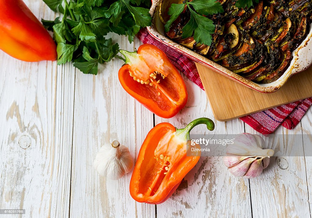Homemade traditional French ratatouille. Healthy food concept. : Foto de stock