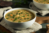 Homemade White Bean Soup with Parsley and Bread