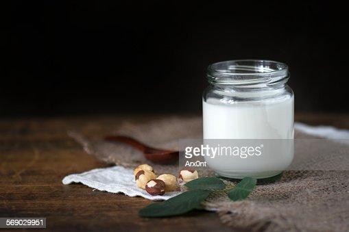 Homemade yogurt in jar : Stock Photo