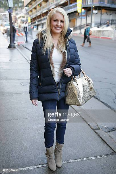 Homemaker Kathryn Debenham is seen wearing a Michael Kors jacket Bebe vest Michael Kors belt Black White jeans and Michael Kors purse on January 27...