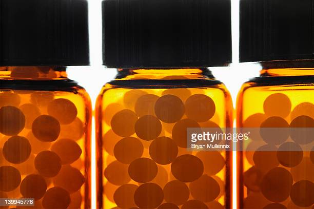 Homeopathic pills in vials