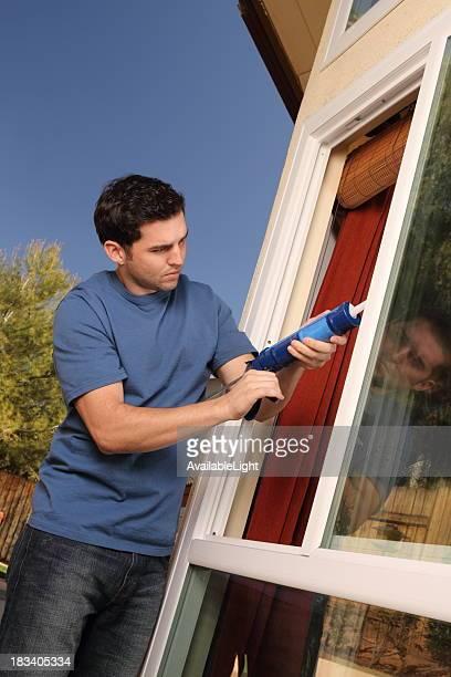 Homeowner Caulks Kitchen Window Angle