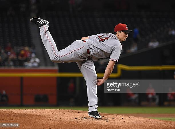 Homer Bailey of the Cincinnati Reds delivers a first inning pitch against the Arizona Diamondbacks at Chase Field on August 28 2016 in Phoenix Arizona