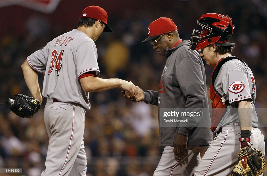 <a gi-track='captionPersonalityLinkClicked' href=/galleries/search?phrase=Homer+Bailey&family=editorial&specificpeople=759409 ng-click='$event.stopPropagation()'>Homer Bailey</a> #34 of the Cincinnati Reds is removed from the game by Manager <a gi-track='captionPersonalityLinkClicked' href=/galleries/search?phrase=Dusty+Baker&family=editorial&specificpeople=202908 ng-click='$event.stopPropagation()'>Dusty Baker</a> #12 as catcher <a gi-track='captionPersonalityLinkClicked' href=/galleries/search?phrase=Ryan+Hanigan&family=editorial&specificpeople=833982 ng-click='$event.stopPropagation()'>Ryan Hanigan</a> #29 looks on during the sixth inning against the Pittsburgh Pirates on September 21, 2013 at PNC Park in Pittsburgh Pennsylvania. The Pirates defeated the Reds 4-2.