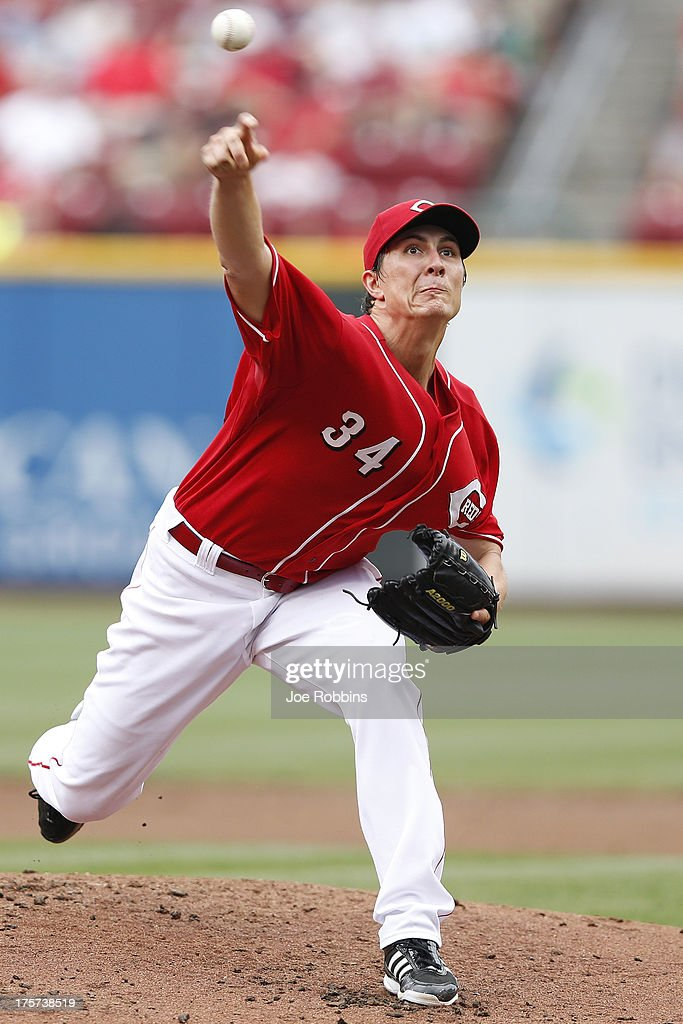 <a gi-track='captionPersonalityLinkClicked' href=/galleries/search?phrase=Homer+Bailey&family=editorial&specificpeople=759409 ng-click='$event.stopPropagation()'>Homer Bailey</a> #34 of the Cincinnati Reds pitches against the Oakland Athletics during the game at Great American Ball Park on August 7, 2013 in Cincinnati, Ohio.