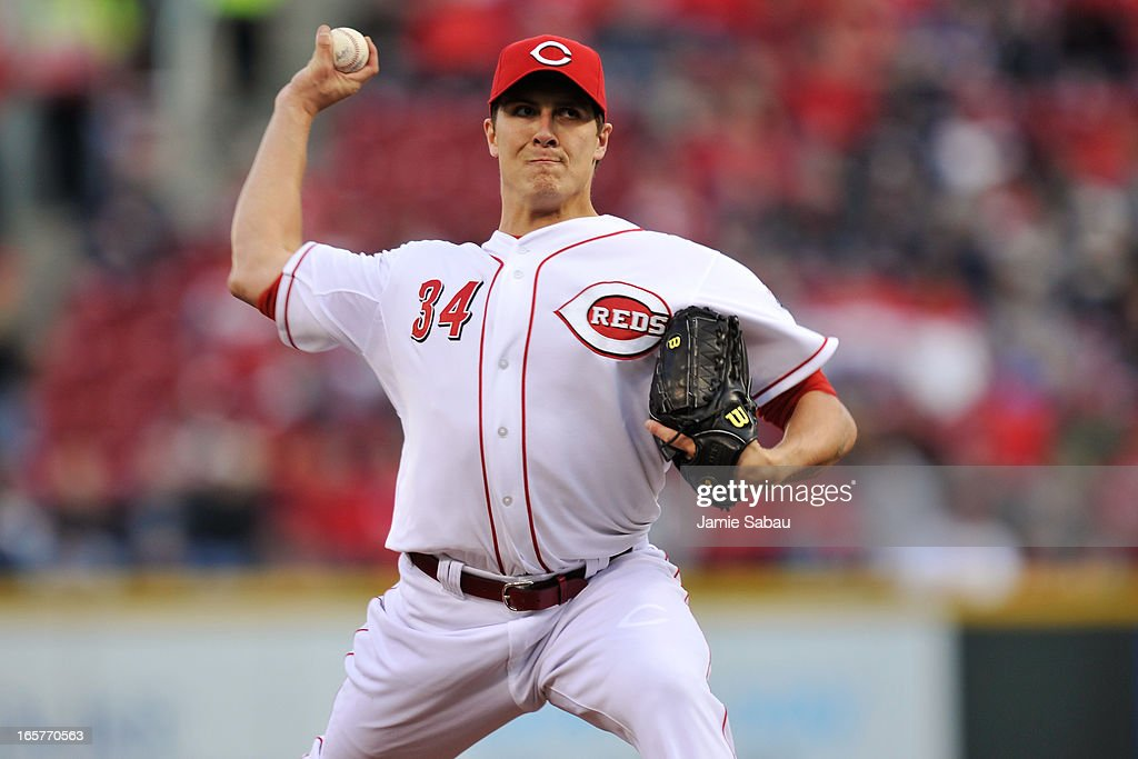 Homer Bailey #34 of the Cincinnati Reds pitches against the Washington Nationals in the first inning at Great American Ball Park on April 5, 2013 in Cincinnati, Ohio.