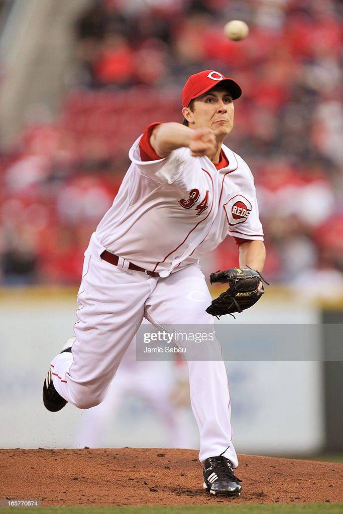 <a gi-track='captionPersonalityLinkClicked' href=/galleries/search?phrase=Homer+Bailey&family=editorial&specificpeople=759409 ng-click='$event.stopPropagation()'>Homer Bailey</a> #34 of the Cincinnati Reds pitches against the Washington Nationals in the first inning at Great American Ball Park on April 5, 2013 in Cincinnati, Ohio.