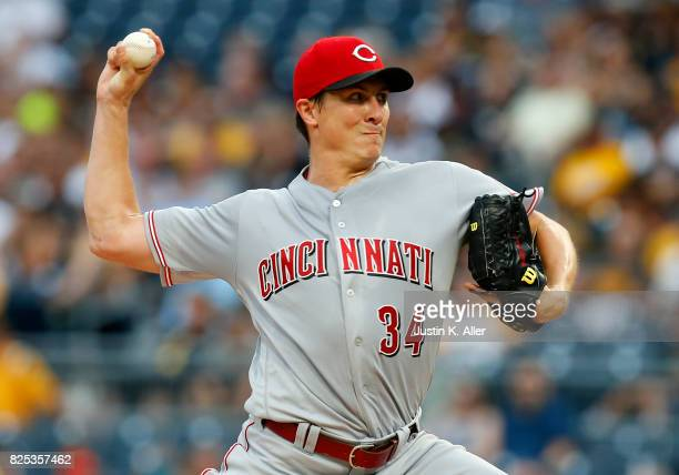 Homer Bailey of the Cincinnati Reds pitches in the first inning against the Pittsburgh Pirates at PNC Park on August 1 2017 in Pittsburgh Pennsylvania