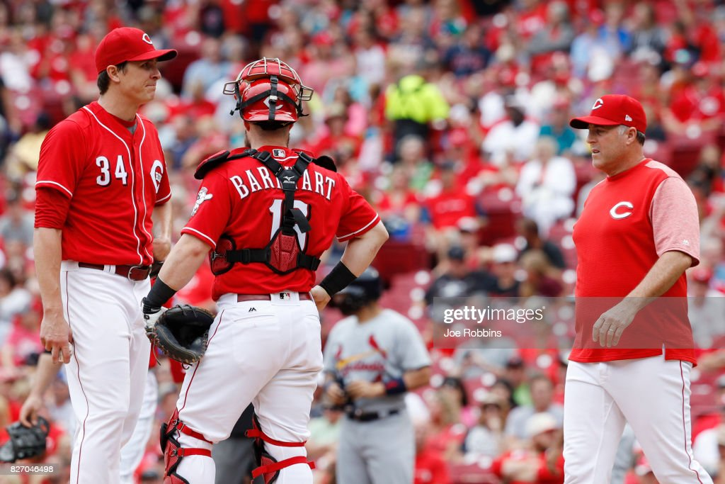 Homer Bailey #34 of the Cincinnati Reds reacts as he is taken out of the game by manager Bryan Price in the fourth inning against the St. Louis Cardinals at Great American Ball Park on August 6, 2017 in Cincinnati, Ohio.
