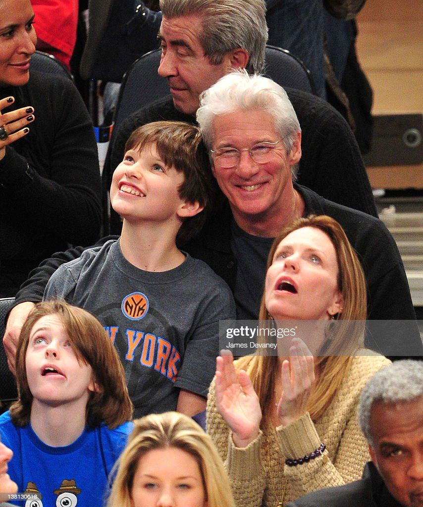 Homer James Gere and <a gi-track='captionPersonalityLinkClicked' href=/galleries/search?phrase=Richard+Gere&family=editorial&specificpeople=202110 ng-click='$event.stopPropagation()'>Richard Gere</a> attend the Chicago Bulls VS New York Knicks at Madison Square Garden on February 2, 2012 in New York City.