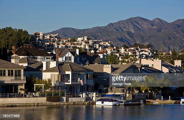Homes along Lake Mission Viejo are viewed on January 5 2013 in Mission Viejo California The coastal communities of Laguna Beach Dana Point and San...