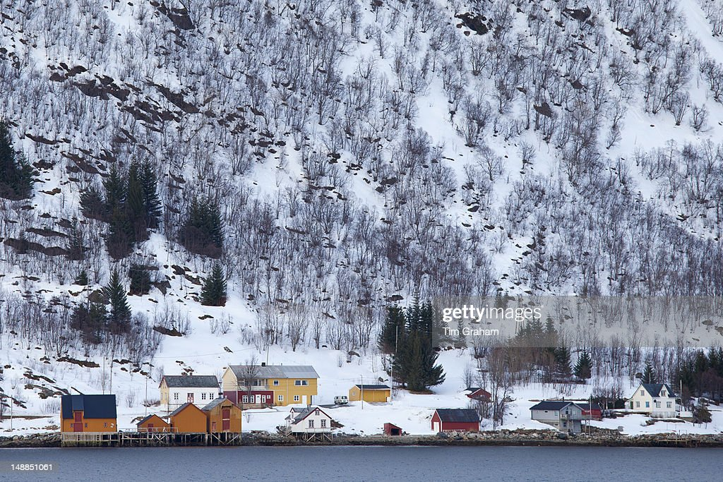 Homes and fishing huts in hamlet across fjord from Sandneshamnvegen 862 on Kvaloya Island Tromso Arctic Circle Northern Norway