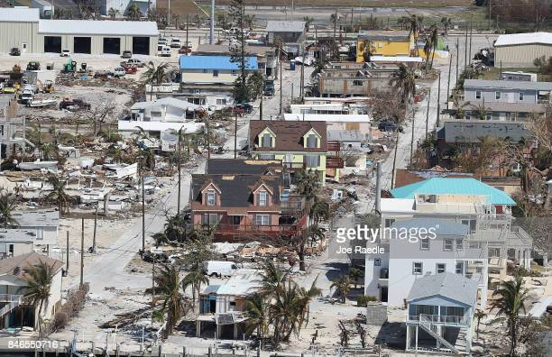 Homes and street that were damaged by Hurricane Irma as it passed through the area are seen on September 13 2017 in Marathon Florida The Florida...