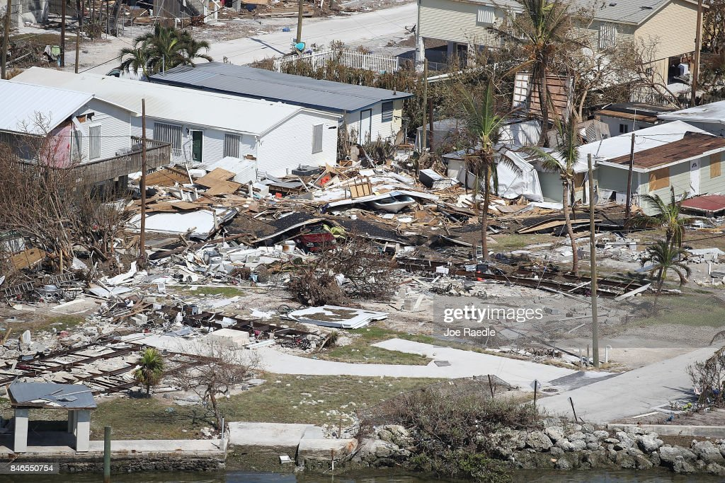 Homes and street that were damaged by Hurricane Irma as it passed through the area are seen on September 13, 2017 in Marathon, Florida. The Florida Key's took the brunt of the hurricane as it passed over the island chain as a category 4 storm.