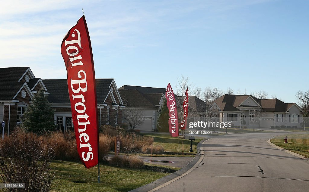 Homes are offered for sale in a Toll Brothers housing development on December 4, 2012 in South Barrington, Illinois. Toll Brothers beat fiscal fourth-quarter earnings expectations which CEO Douglas Yearley Jr. attributed to an increase in home prices, low interest rates and a pent up demand. Nationwide home prices increased 6.3% in October from a year earlier, the biggest year-over-year gain since 2006.