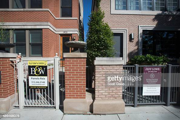 Homes are offered for sale in the Bucktown neighborhood on September 21 2015 in Chicago Illinois Sales of previously owned homes fell more than...