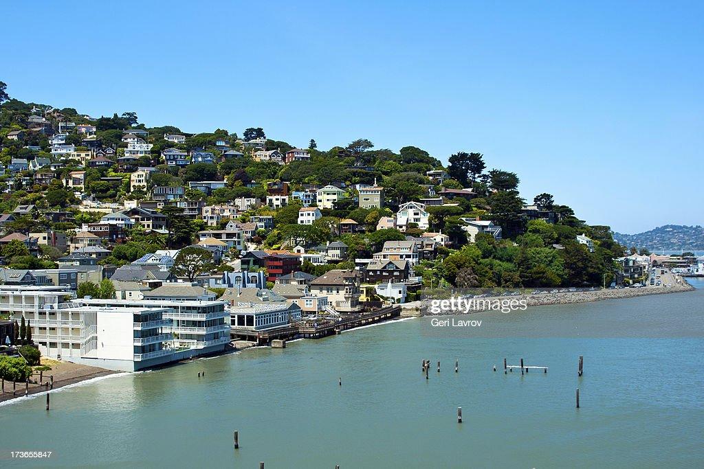 Homes at a waterfront, Sausalito, Marin County