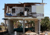 Homes destroyed by Hurricane Ike line the west end of Jamaica Beach on Galveston IslandSeptember 29 2008 in Galveston Texas