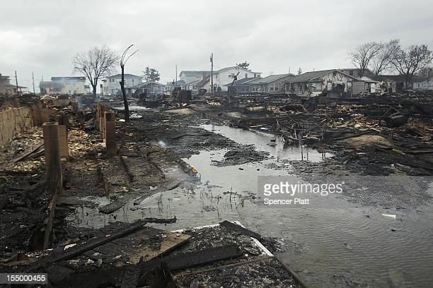Homes destroyed during Hurricane Sandy are viewed on October 30 2012 in the Breezy Point neighborhood of the Queens borough of New York At least 33...