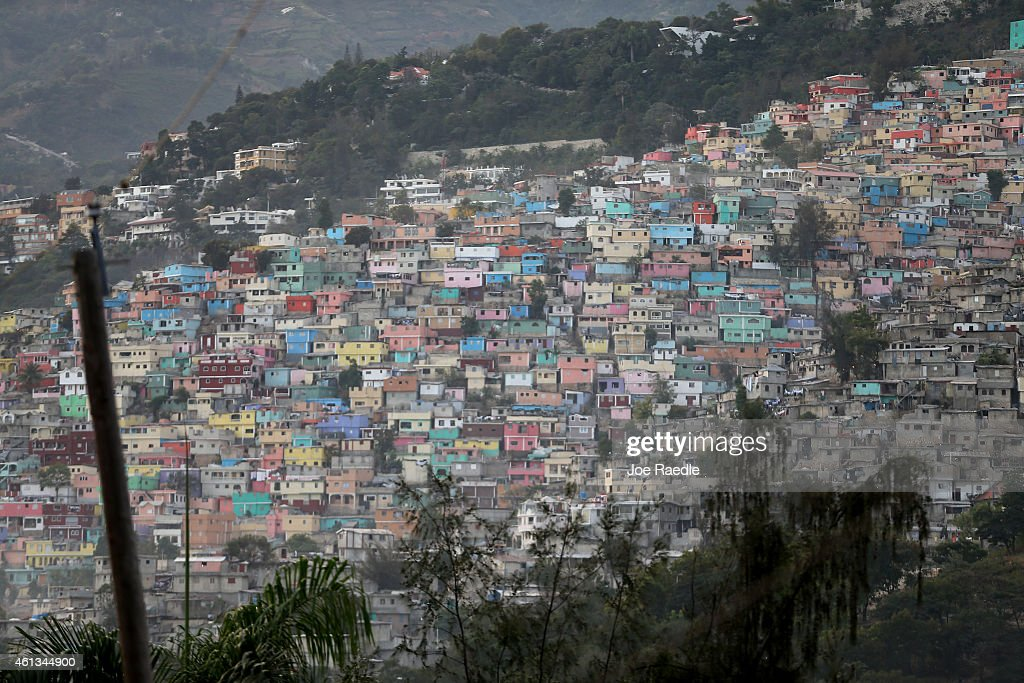 Homes dot the hillside a day before the five year anniversary of a magnitude 70 earthquake hitting just before 5 pm on Jan 12 destroying buildings...