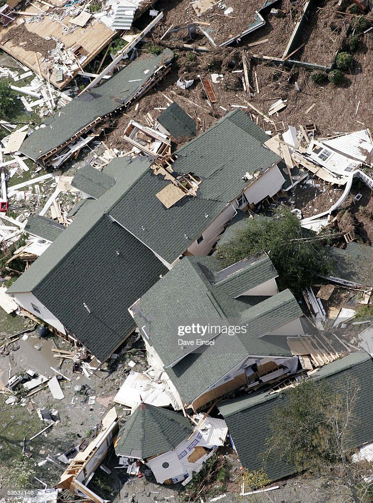 Homes lie destroyed near Waveland August 30 2005 in flight over Mississippi Approximately 100 people are feared dead and estimates put the property...