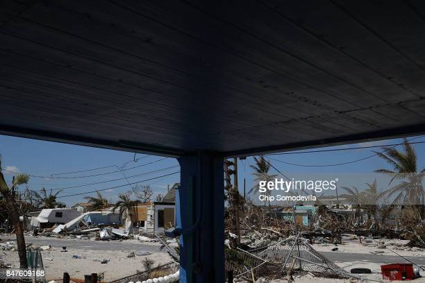 Homes that were damaged or destroyed by Hurricane Irma are piled up in the Big Pine Cove neighborhood September 15 2017 in Big Pine Key Florida Many...