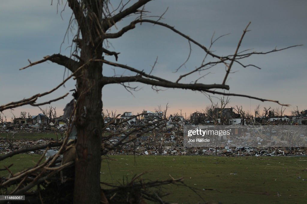 Homes that were destroyed when a massive tornado passed through killing at least 125 people are seen on a hill-side May 27, 2011 in Joplin, Missouri. The town continues the process of recovering from the storm.