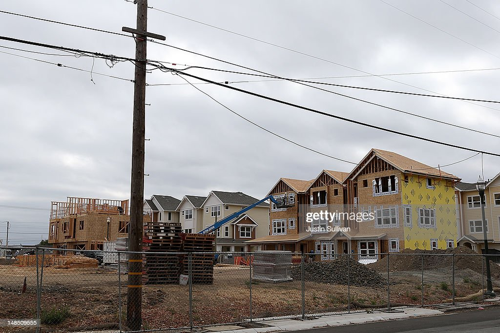 Homes under construction are seen at the Arbor Rose housing development on July 18, 2012 in San Mateo, California. The Commerce Department reported that housing starts surged 6.9% in June, the highest increase since October 2008.