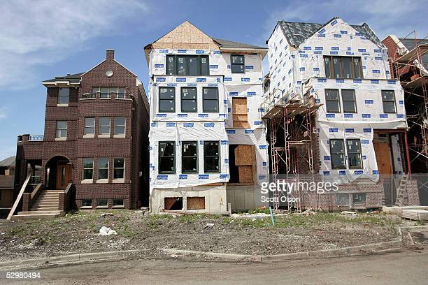 Homes under construction line a street in the Bridgeport neighborhood May 25 2005 in Chicago Illinois Home prices posted the biggest annual gain in...