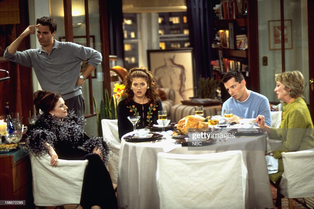 WILL & GRACE -- 'Homo for the Holiday' Episode 7 -- Pictured: (l-r) <a gi-track='captionPersonalityLinkClicked' href=/galleries/search?phrase=Megan+Mullally&family=editorial&specificpeople=201612 ng-click='$event.stopPropagation()'>Megan Mullally</a> as Karen Walker, <a gi-track='captionPersonalityLinkClicked' href=/galleries/search?phrase=Eric+McCormack&family=editorial&specificpeople=202857 ng-click='$event.stopPropagation()'>Eric McCormack</a> as Will Truman, <a gi-track='captionPersonalityLinkClicked' href=/galleries/search?phrase=Debra+Messing&family=editorial&specificpeople=202114 ng-click='$event.stopPropagation()'>Debra Messing</a> as Grace Adler, <a gi-track='captionPersonalityLinkClicked' href=/galleries/search?phrase=Sean+Hayes&family=editorial&specificpeople=204240 ng-click='$event.stopPropagation()'>Sean Hayes</a> as Jack McFarland, Veronica Cartwright as Judith McFarland --