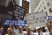 A homophobic demonstration during Gay Pride Day in New York City 29th June 1986 The protestors hold placards reading 'God loves you but not your sin'...