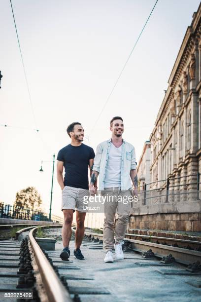 Homosexual couple discovering Eastern European cities