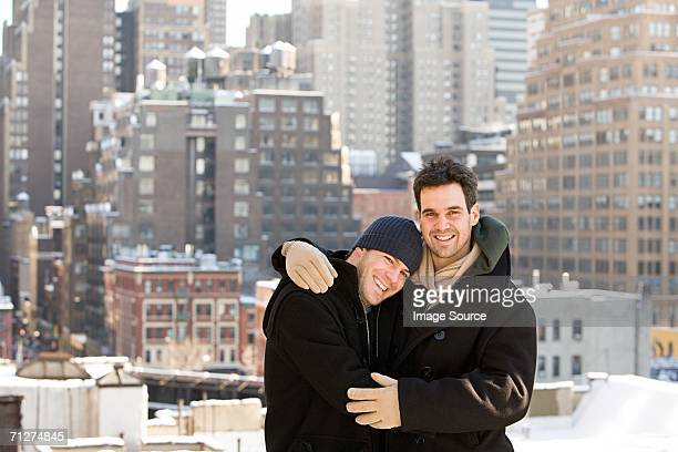 Homosexual couple embracing