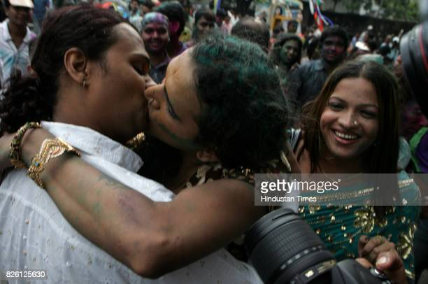 Homosexual Gay Kiss Kissing Gay community celebrated the Delhi High court order of decriminilising of homosexual act on Thursday