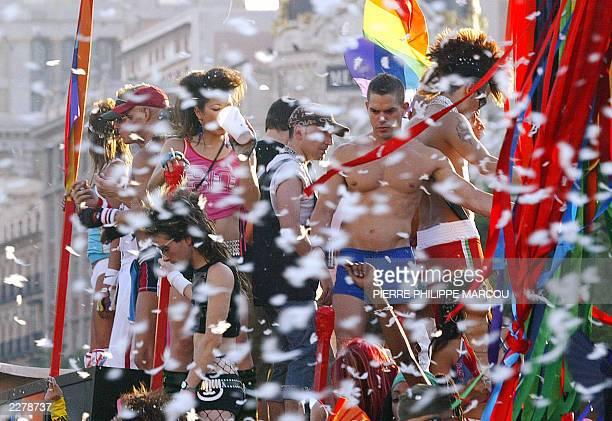 Homosexuals take part in a Gay Pride parade in Madrid 28 June 2003
