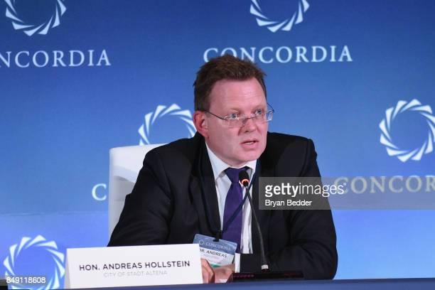 Hon Andreas Hollstein Mayor City of Stadt Altena speaks at The 2017 Concordia Annual Summit at Grand Hyatt New York on September 18 2017 in New York...