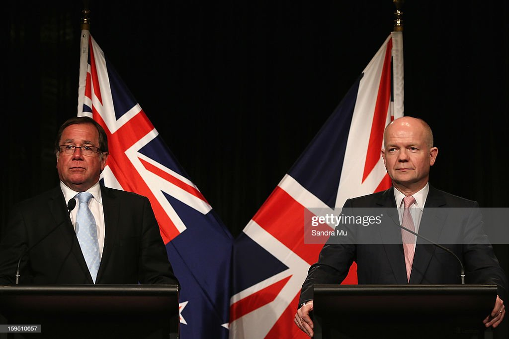 Hon <a gi-track='captionPersonalityLinkClicked' href=/galleries/search?phrase=Murray+McCully&family=editorial&specificpeople=2182937 ng-click='$event.stopPropagation()'>Murray McCully</a>, New Zealand Minister of Foreign Affairs (L) and Rt Hon <a gi-track='captionPersonalityLinkClicked' href=/galleries/search?phrase=William+Hague&family=editorial&specificpeople=206295 ng-click='$event.stopPropagation()'>William Hague</a>, Secretary of State for Foreign and Commonwealth Affairs United Kingdom of Great Britain and Northern Ireland speak to media representatives at the joint media conference after a Bilateral meeting at The Langham Hotel on January 15, 2013 in Auckland, New Zealand. The Right Honourable <a gi-track='captionPersonalityLinkClicked' href=/galleries/search?phrase=William+Hague&family=editorial&specificpeople=206295 ng-click='$event.stopPropagation()'>William Hague</a> is visiting New Zealand for bilateral meetings and a tour through the red zone of earthquake stricken Christchurch.