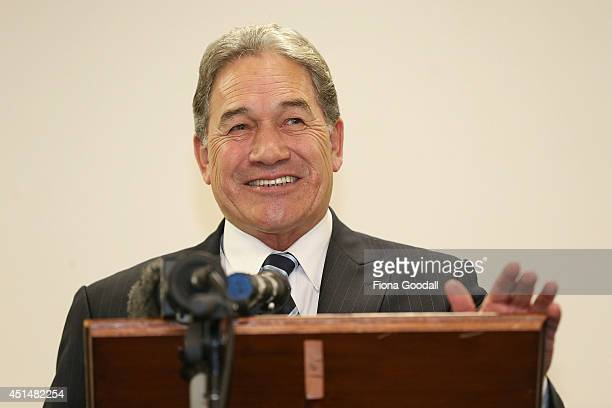 Hon Winston Peters delivers the keynote speech at the Auckland Grey Power AGM at the Fickling Centre on June 30 2014 in Auckland New Zealand