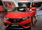 Honda All New Jazz is displayed in The 23rd Indonesia International Motor Show at JI EXPO Kemayoran on August 19 2015 in Jakarta Indonesia The 23rd...