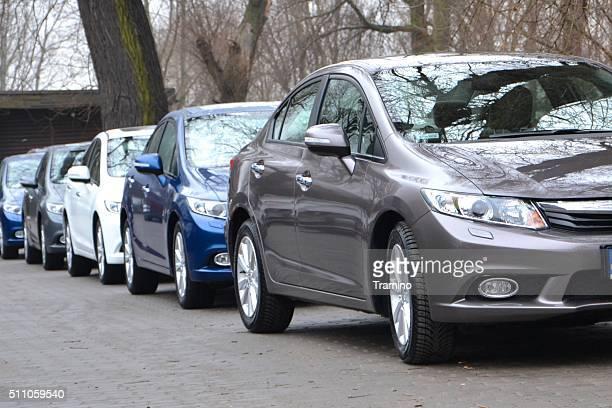 Honda Civic cars in a row